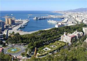 Málaga puerto, ayuntamiento y parque.